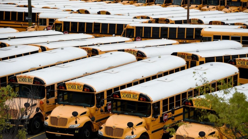 arlington virginia school buses parked