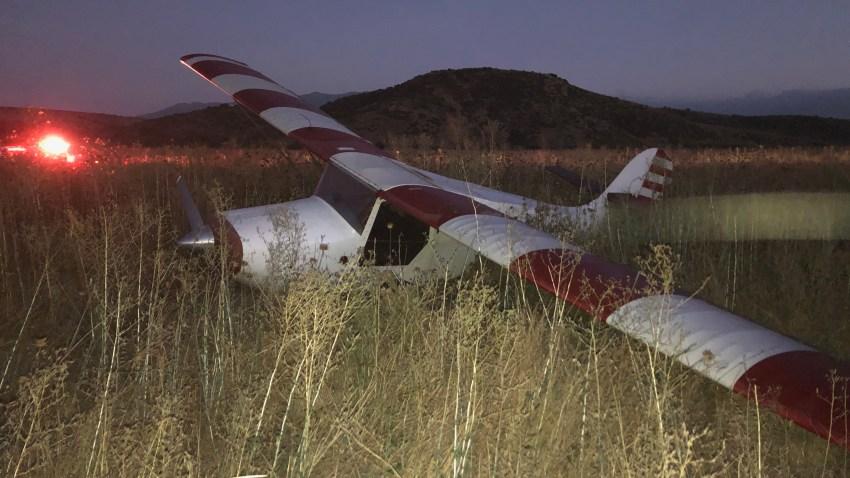 A plane made a hard landing in a field near Jamul Casino on July 22, 2020.