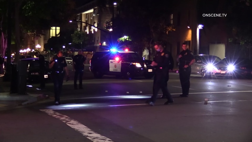 San Diego Police Department officers respond to a report of shots fired early Sunday, Aug. 9, 2020.