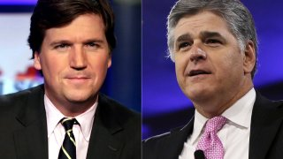 "This combination photo shows, Tucker Carlson, host of ""Tucker Carlson Tonight,"" left, and Sean Hannity, host of ""Hannity"" on Fox News. The Fox News and Fox Business channels are going international. A digital streaming service with the pair will launch in Mexico this month, expanding to Spain, Germany and the United Kingdom in September."