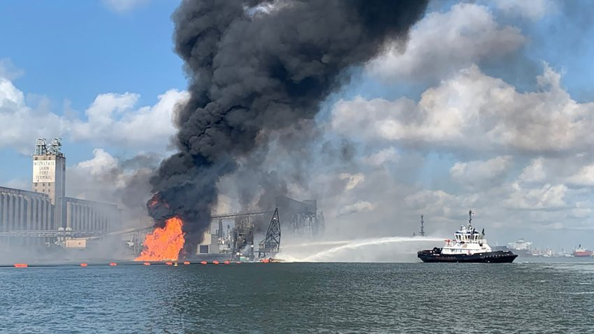 Coast Guard crews respond to a dredge on fire in the Port of Corpus Christi Ship Channel
