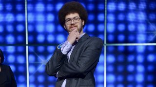 """In this file photo, Adam Abdul-Jabbar appears on an episode of """"Family Feud"""" in 2017."""