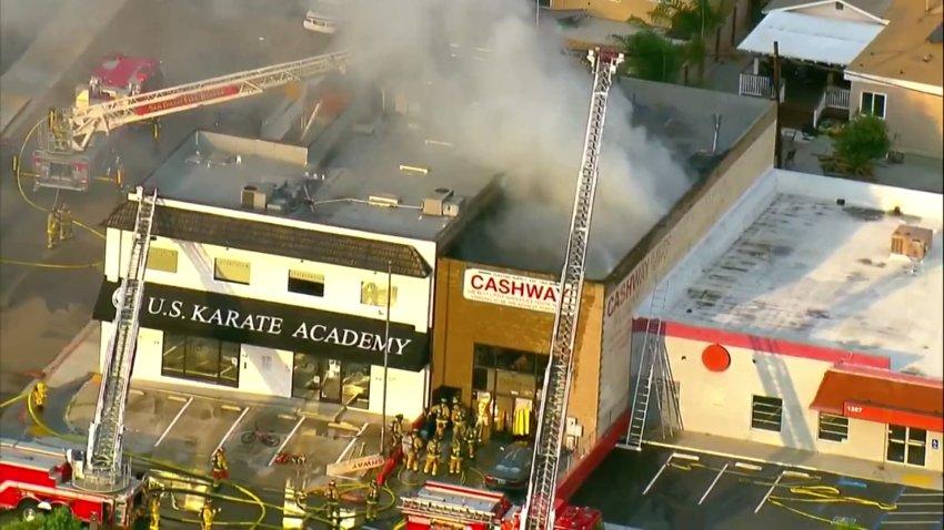 Large commercial fire near Linda Vista