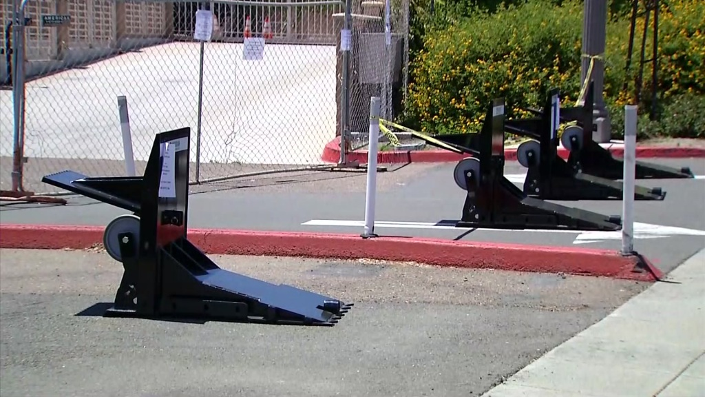 Barriers are seen placed near the La Mesa Police Department, where demonstrators are slated to gather on Aug. 1, 2020 to call for justice in the killings of Breonna Taylor and Vanessa Guillen.