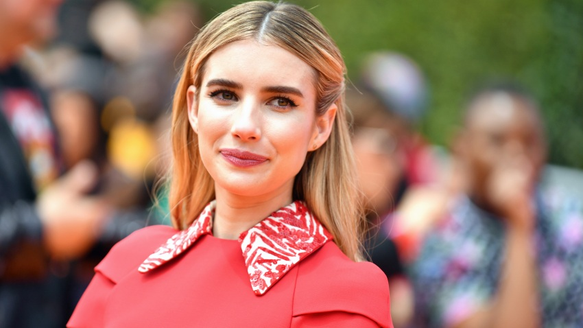 """In this April 27, 2019, file photo, Emma Roberts attends STX Films World Premiere of """"UglyDolls"""" at Regal Cinemas L.A. Live in Los Angeles, California."""