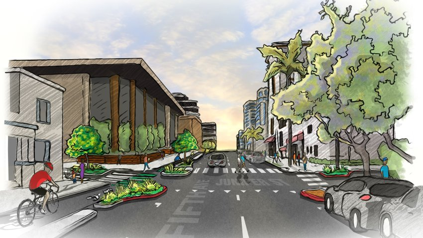 Fourth and Fifth Avenue Bikeways Rendering - Fifth & Juniper - North View