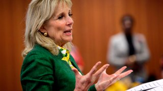 Jill Biden, wife of former Vice President Joe Biden, speaks during a meet and greet campaign event at the Dexter Avenue King Memorial Legacy in Montgomery, Alabama on March 2, 2020.