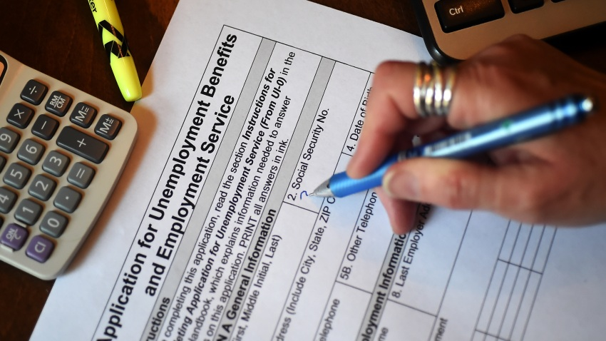 A person files an application for unemployment benefits