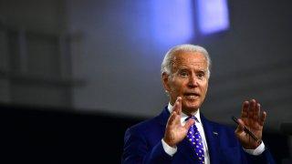 Presumptive Democratic presidential nominee former Vice President Joe Biden delivers a speech at the William Hicks Anderson Community Center, on July 28, 2020 in Wilmington, Delaware.