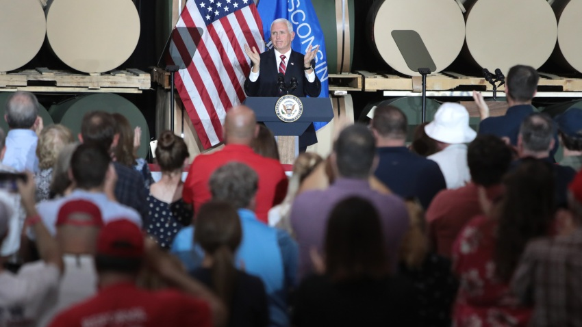 U.S. Vice President Mike Pence speaks to workers at Tankcraft Corporation on August 19, 2020 in Darien, Wisconsin. The visit comes a day after President Donald Trump's son Eric visited the state and two days after the president visited the state.