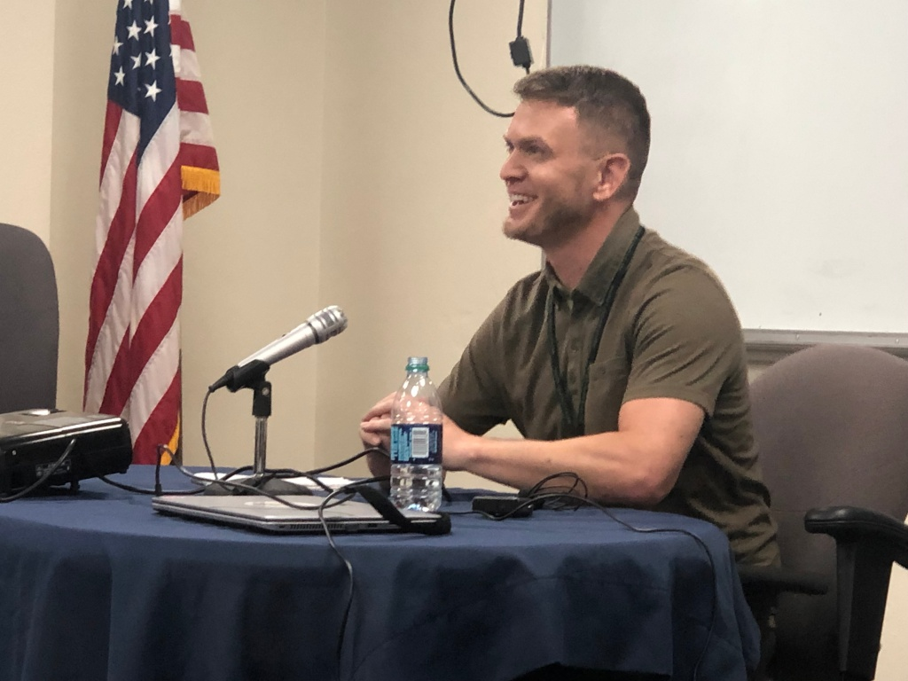 """Kyler Daugherty speaking at a Prostitution Impact Panel -- a class convicted sex buyers can take in exchange for a less severe sentence. The class offers buyers a chance to hear from the sex trafficking victims' perspective. It's sometimes described as a """"traffic school"""" for sex buyers."""