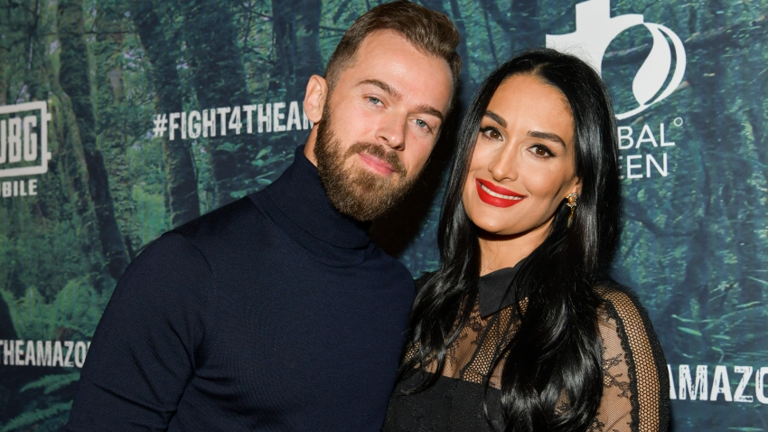 In this Dec. 9, 2019, file photo, Artem Chigvintsev (L) and Nikki Bella attend the PUBG Mobile's #FIGHT4THEAMAZON Event at Avalon Hollywood in Los Angeles, California.