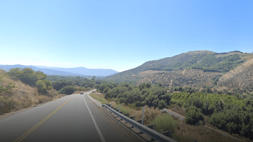 SR-76 in the area near Wilderness Canyon Preserve and Pala Casino