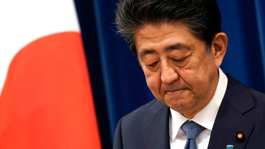 Japanese Prime Minister Shinzo Abe speaks during a press conference at the prime minister official residence in Tokyo Friday, Aug. 28, 2020. Abe, Japan's longest-serving prime minister, says he's resigning because a chronic illness has resurfaced.