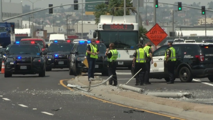 Harbor Police at the scene of a deadly crash near the San Diego International Airport
