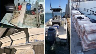 photos showing drugs seized from boatsby CBP.