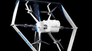 Amazon's Prime Air drone design unveiled at Amazon's re:MARS Conference (Machine Learning, Automation, Robotics and Space) in Las Vegas, on June 5, 2019.