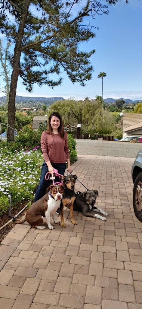 El Cajon resident Linda Miller poses with her trio of dogs.