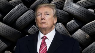 """President Donald Trump """"cancelled"""" Goodyear in a tweet released Wednesday, Aug. 19, 2020, after the company allegedly banned workers from wearing MAGA hats."""