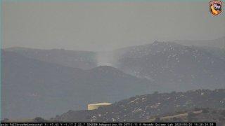 An SDG&E Wildfire Cam captures smoke from a fire in the De Luz Area