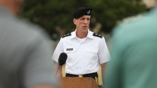 Maj. Gen. Scott Efflandt addresses the press in front of the III Corps Headquarters at Fort Hood, July 6, 2020, confirming that the human remains found near the Leon River in Belton, Texas, did belong to Spc. Vanessa Guillen.
