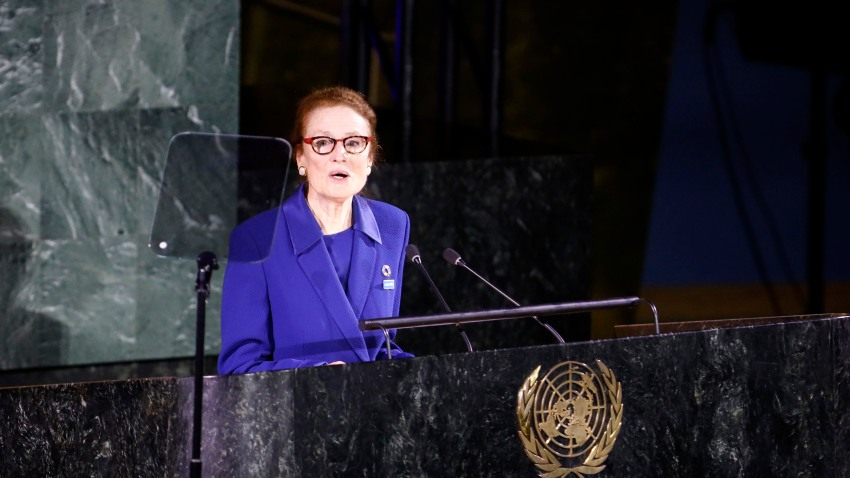 UN Children's Fund Executive Director Henrietta Fore delivers an opening remarks to a UN General Assembly high-level meeting commemorating the 30th anniversary of the Convention on the Rights of the Child ,CRC, at the UN headquarters in New York, on Nov. 20, 2019.