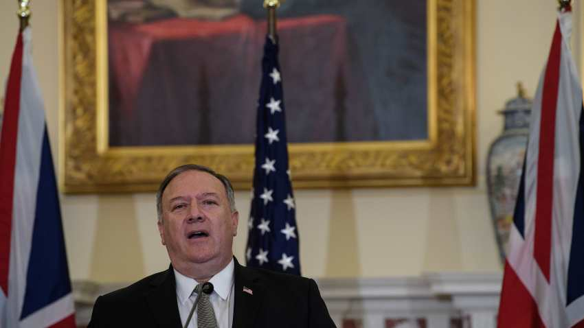 US Secretary of State Mike Pompeo speaks at a press conference with British Foreign Secretary Dominic Raab at the State Department in Washington, DC, on September 16, 2020.