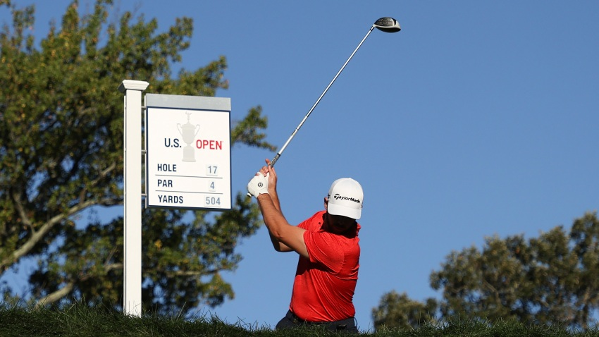 Matthew Wolff of the United States plays his shot from the 17th tee during the third round of the 120th U.S. Open Championship
