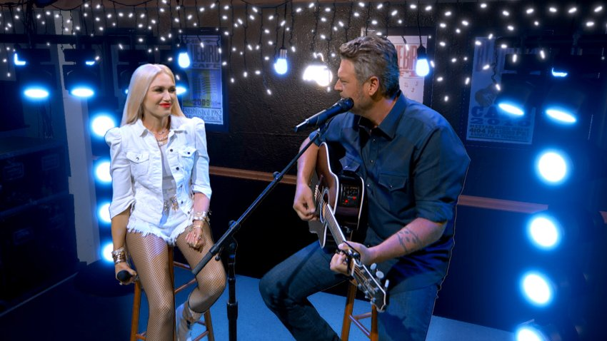 In this Aug. 31, 2020, screengrab, (L-R) Gwen Stefani and Blake Shelton perform during the 55th Academy of Country Music Awards in Los Angeles, California.