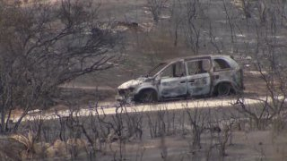 A car burned by the Valley Fire.