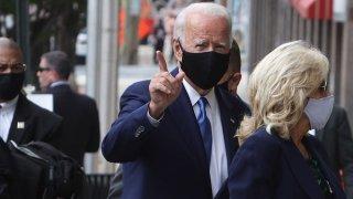 Democratic presidential nominee Joe Biden arrives at an event venue with his wife Dr. Jill Biden, Sept. 2, 2020, in Wilmington, Delaware.