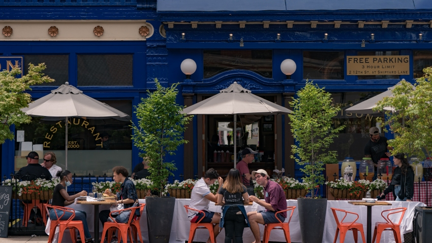 Customers have a lunch outside a restaurant as the city reopens from the coronavirus lockdown on June 15, 2020 in Hoboken, New Jersey.