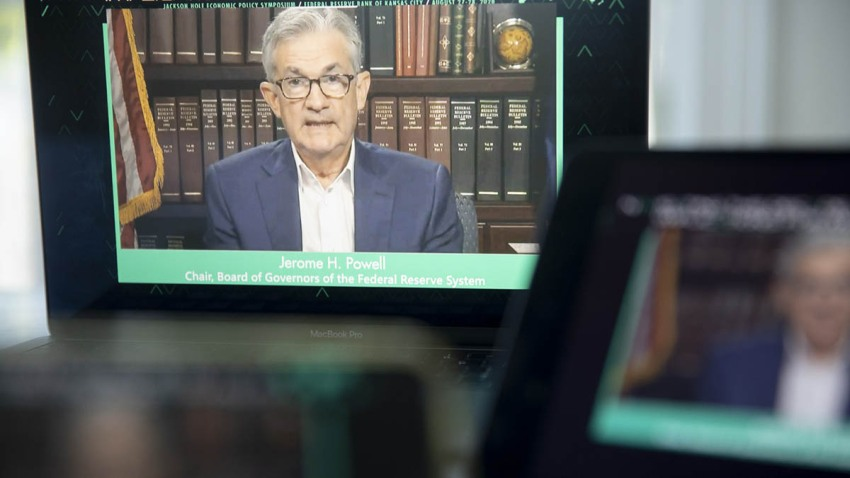 Jerome Powell, chairman of the Federal Reserve, speaks during the Jackson Hole economic symposium seen on a laptop computer in Tiskilwa, Illinois, Aug. 27, 2020.