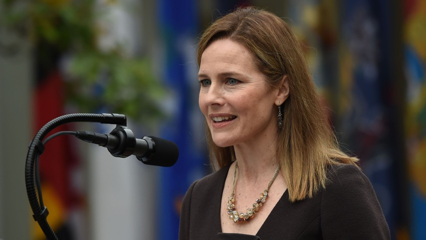 Judge Amy Coney Barrett speaks after being nominated to the US Supreme Court by President Donald Trump in the Rose Garden of the White House in Washington, DC on September 26, 2020. - Barrett, if confirmed by the US Senate, will replace Justice Ruth Bader Ginsburg, who died on September 18.