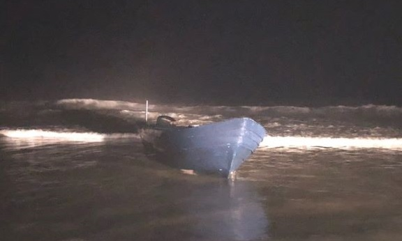 A panga was discovered along the shore in Imperial Beach early Monday, Oct. 26, 2020, leading to the arrest of 21 migrants who attempted to enter the U.S. unlawfully.
