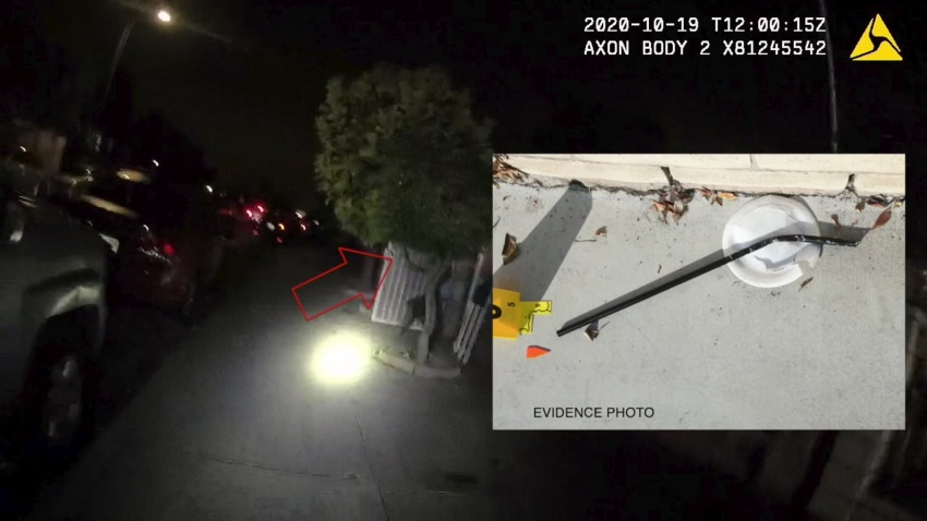 A still frame photo from video evidence of a police shooting in Mountain View released by SDPD.