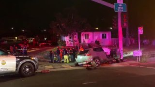 A 16-year-old was injured after he allegedly led police on a pursuit in a stolen vehicle that ended in a crash in Chollas Creek.