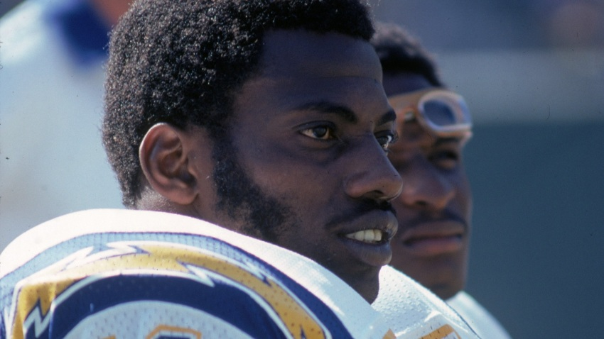 SAN DIEGO, CA - OCTOBER 14: Defensive end Fred Dean #71 of the San Diego Chargers watches from the sideline against the Seattle Seahawks at San Diego Stadium on October 14, 1979 in San Diego, California. The Chargers defeated the Seahawks 20-10. (Photo by Richard Stagg/Getty Images)
