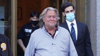 President Donald Trump's former Chief Strategist Stephen Bannon exits Manhattan Federal Court