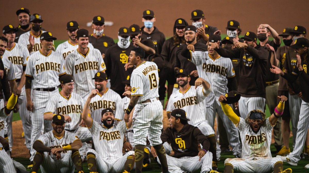 Image result for San Diego Padres celebrate wild card win