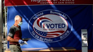 A voter walks into the the San Diego County Registrar of Voters to cast his ballot