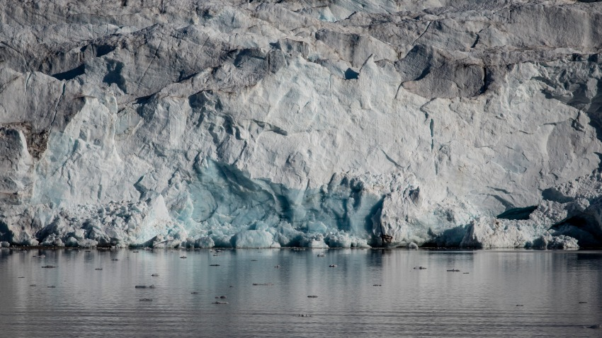 Ice melts near Nordenskjodbreen glacier on August 25, 2020 on the Norwegian Arctic Svalbard archipelago, Norway.