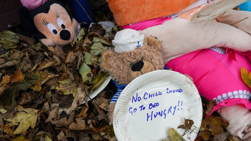 Hand written comments are written on paper plates and placed, along with soft toys outside the office of Simon Clarke MP, Conservative MP for Middlesbrough South and East Cleveland on October 24, 2020 in Guisborough, England