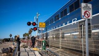 Amtrak Surfliner Train Passes Through San Clemente, California