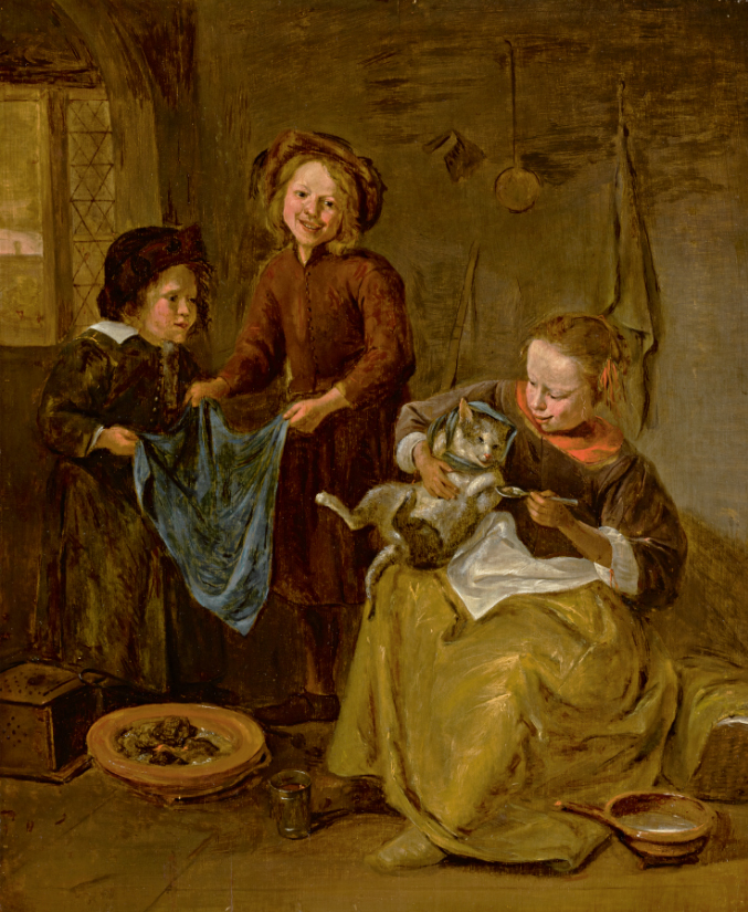 "However, ""An Interior With Three Children Playing With a Cat,"" by a follower of Jan Steen, fetched $3,780 at the sale ..."