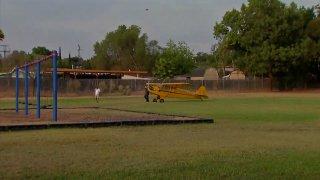 A plane made an emergency landing in the field at an El Cajon elementary school.