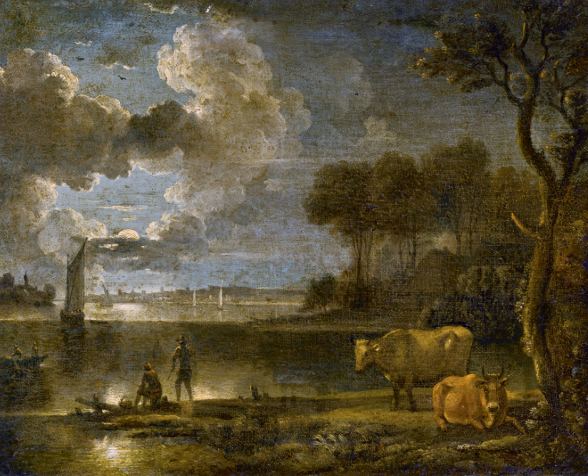 "And ""Moonlit River Landscape With Boats, Fisherman and Cows,"" by a follower of Aert Van Der Neer, sold for $2.772; both were offered without reserve."