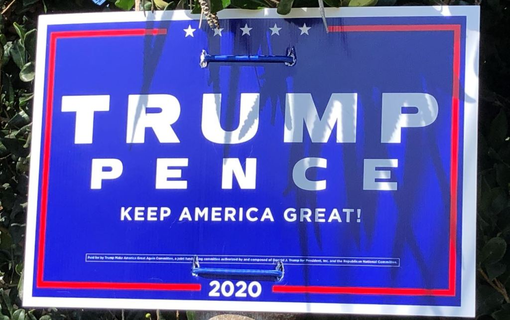 A Trump/Pence sign spotted on Coronado on Oct. 28.