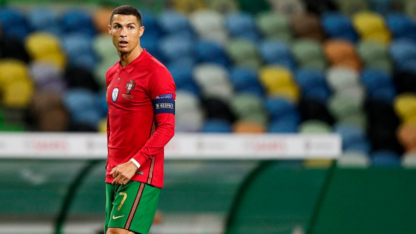 Cristiano Ronaldo of Portugal during the International Friendly match between Portugal and Spain at the Jose Alvalade stadium, Oct. 7, 2020, in Lisbon, Portugal.
