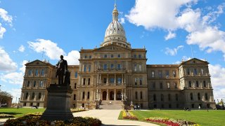 The Michigan State Capitol building is seen on Oct. 8, 2020, in Lansing, Michigan.